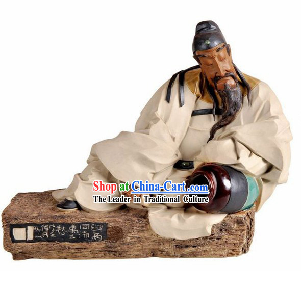 Chinese Classical Shiwan Ceramic Statue Collection - Poet Li Bai Drinking