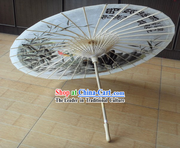 Chinese Ancient Painted Lotus Umbrella
