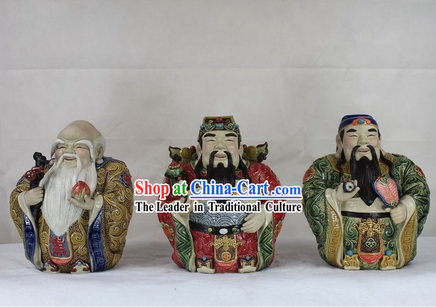 Chinese Fu Lu Shou Three Starts Shiwan Ceramics Pottery