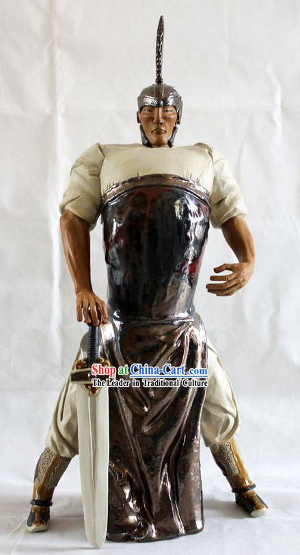 Ancient Hero Chinese Shiwan Ceramic Figurine