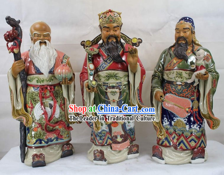 Large Three Stars Chinese Shiwan Ceramic Figurine