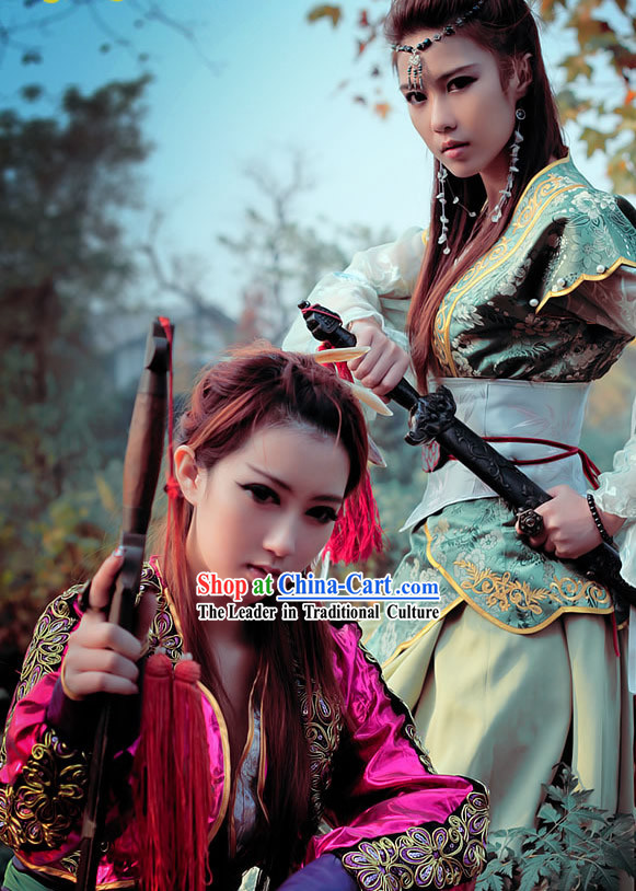 Ancient Chinese Swordswoman Sisters Costumes 2 Sets
