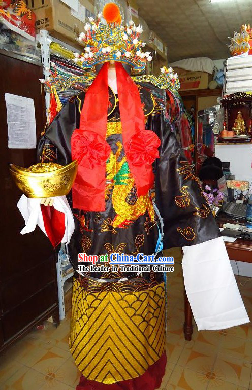 Traditional Chinese Cai Shen Costume and Helmet