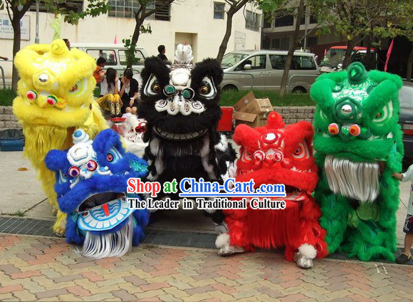 Lucky Opening Ceremony Five Colors of Lion Dance Costumes Complete Sets