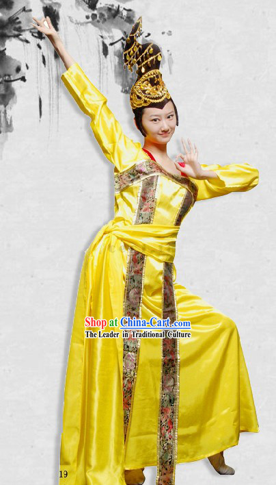 Tang Dynasty Palace Dance Costume and Headpiece