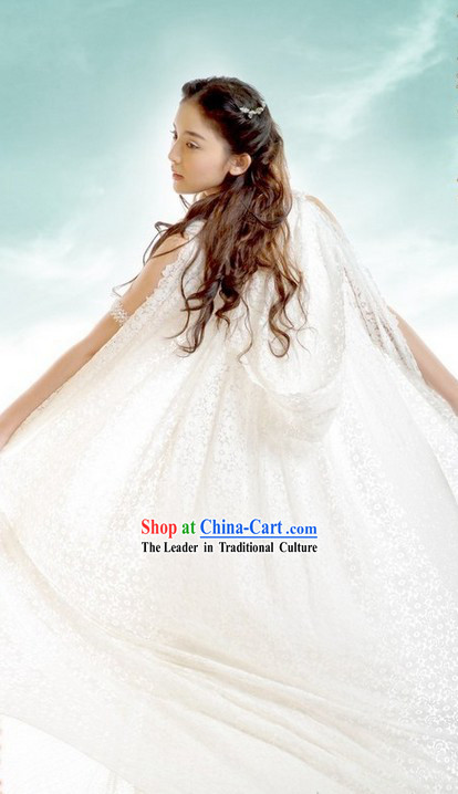 Ancient Fairy Romantic Wedding Dress with Long Trail