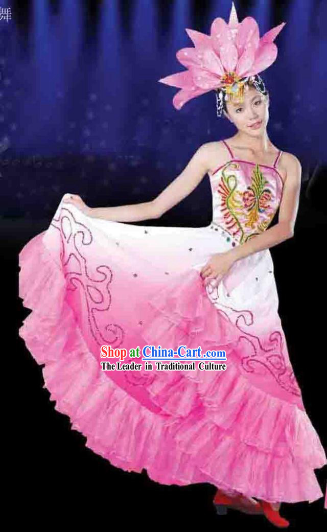 Chinese Lotus Dance Costume and Headpiece