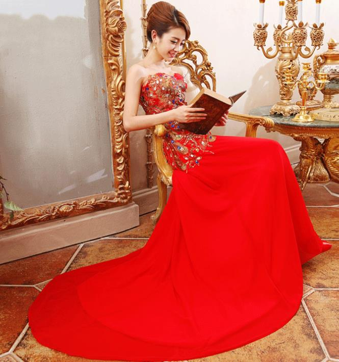 Stunning Chinese Red Wedding Phoenix Evening Wear