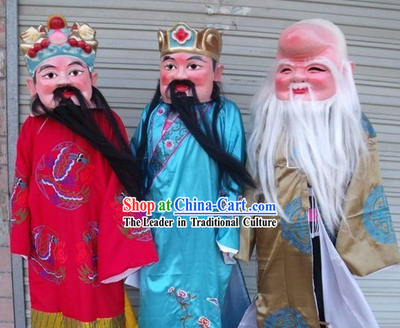 Fu Lu Shou Ancient Style Chinese Laughing Masks Costumes Three Complete Set