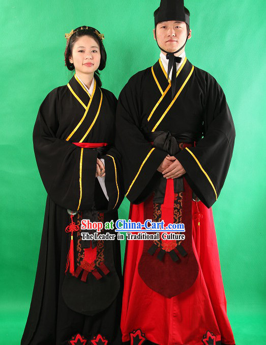Traditional Chinese Hanfu Ceremony Clothing 2 Sets for Men and Women