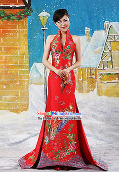 Stunning Chinese Wedding Embroidered Phoenix Evening Dress