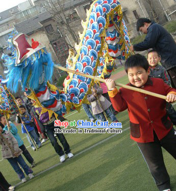 Competition and Parade Blue Dragon Dance Costume for Primary School Students