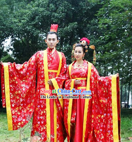 Ancient Chinese Wedding Gowns and Hats 2 Complete Sets