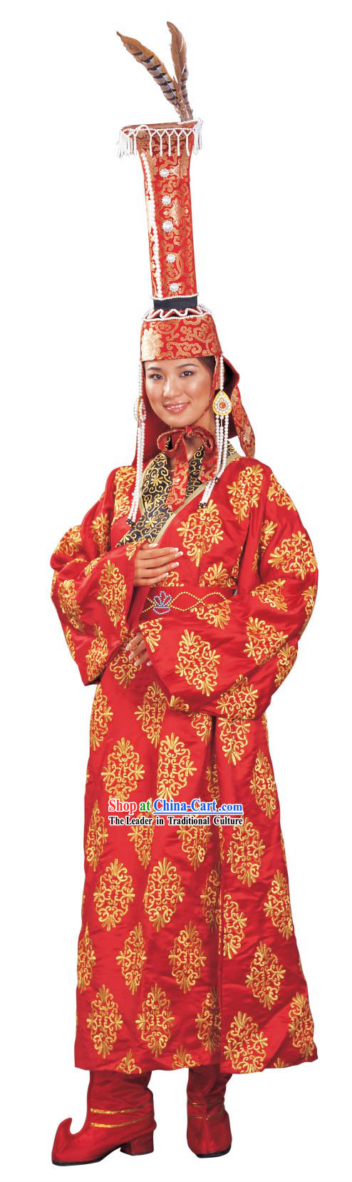 Chinese National Costume and Hat Complete Set