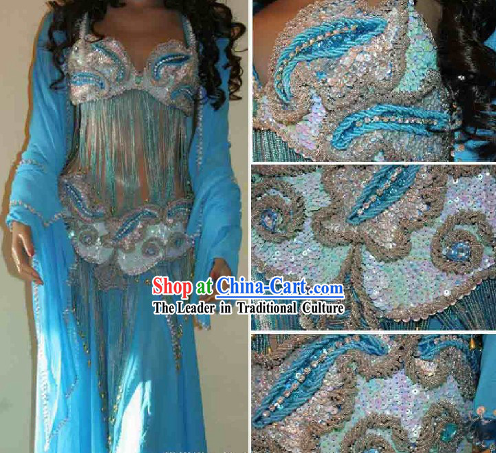 Top Competition Long Blue Belly Dance Costumes Complete Set for Women