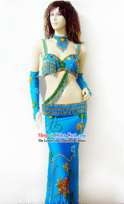 Supreme Blue Belly Dance Costumes Complete Set