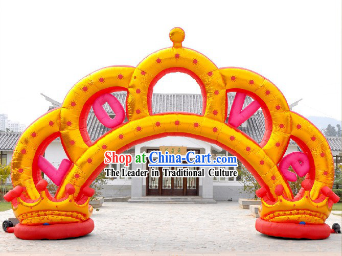 Large 315 Inches Golden Inflatable Emperor Crown Arch