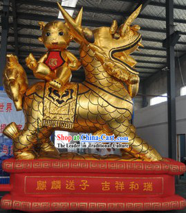 Traditional Large Inflatable Golden Kylin and Child
