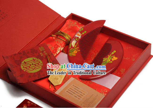 Chinese Carpenter Tan Dragon and Phoenix Combs Wedding Gift Package