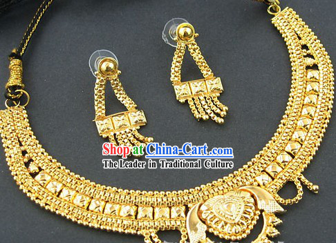 Indian Golden Neckalce and Earrings Set - Happiness