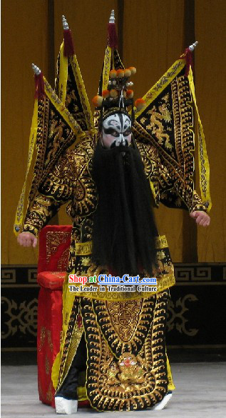 Traditional Peking Opera Dragon Da Kao Zhang Fei Armor Costumes Complete Set