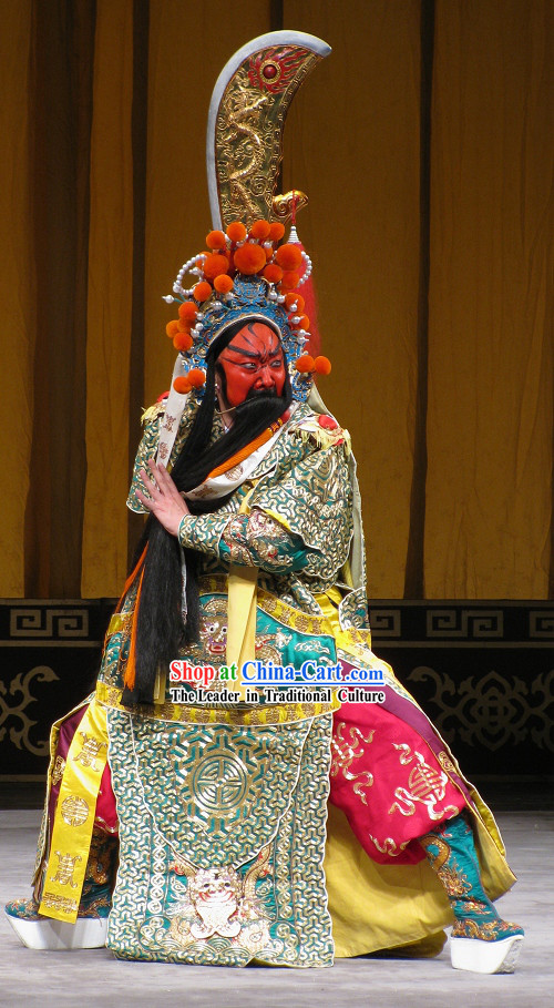 Chinese Guan Gong Beijing Opera Costumes and Hat Complete Set