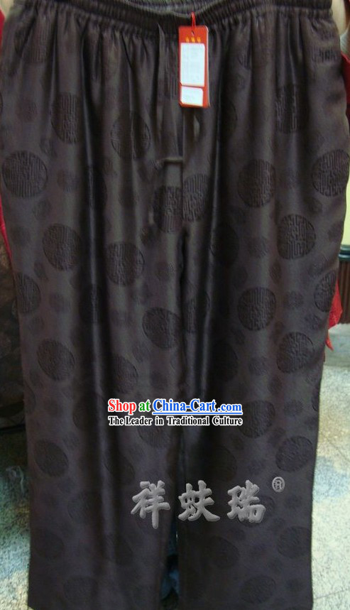 Chinese Peking Rui Fu Xiang Silk Pants for Men