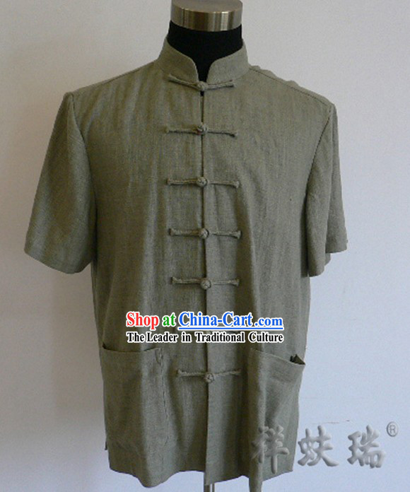 Chinese Peking Rui Fu Xiang Flax Tang Blouse for Men