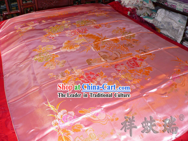Chinese Peking Rui Fu Xiang Wedding Brocade Bedcover