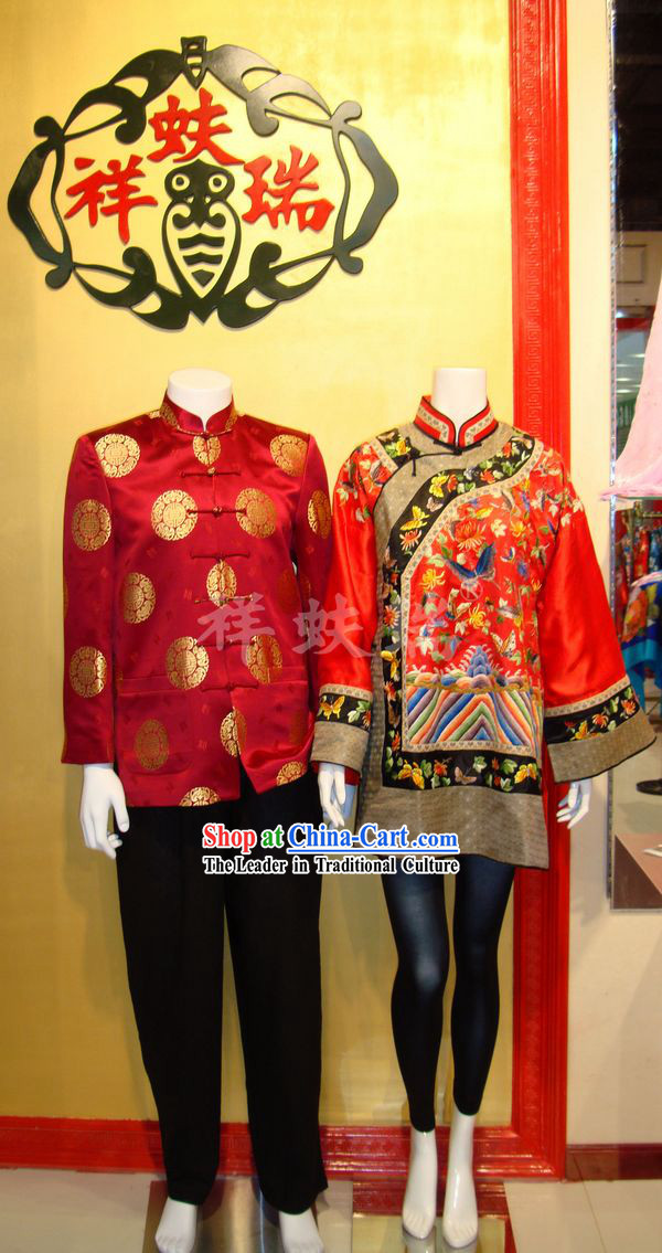 Traditional Chinese Famous Time-honored Rui Fu Xiang Wedding Dresses 2 Sets for Bride and Bridegroom