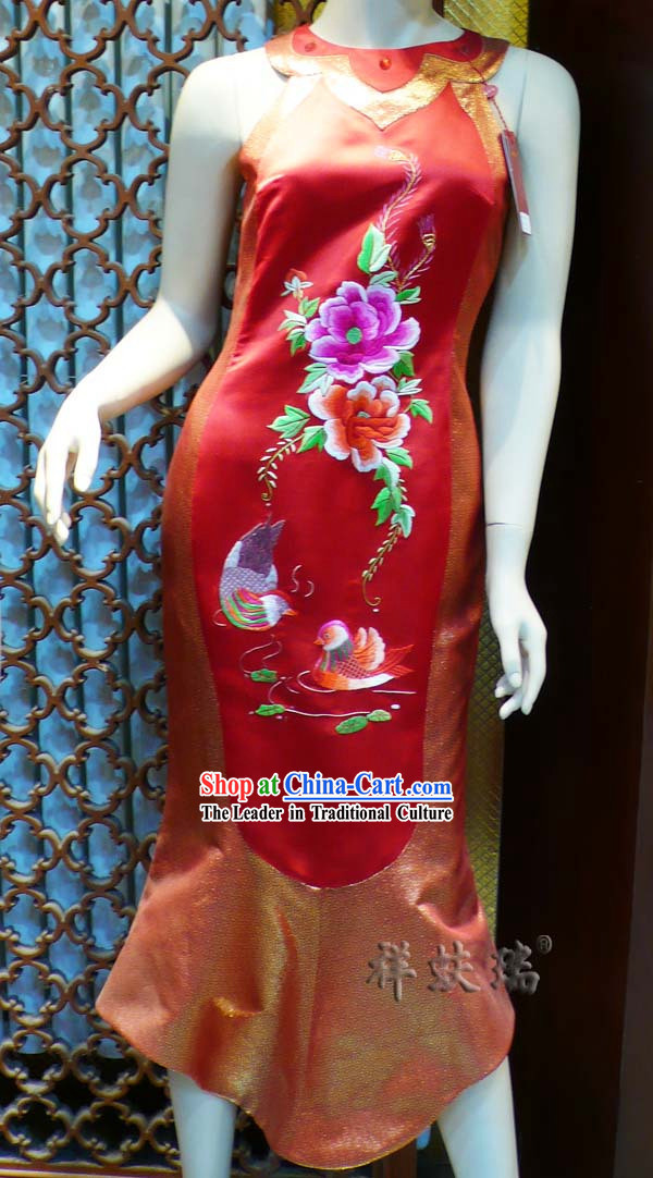 Beijing Rui Fu Xiang Silk Red Hand Embroidered Cheongsam for Women