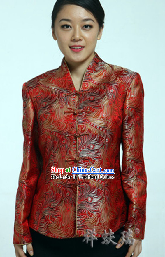 Famous Time-honored Rui Fu Xiang Red Tang Suit for Women