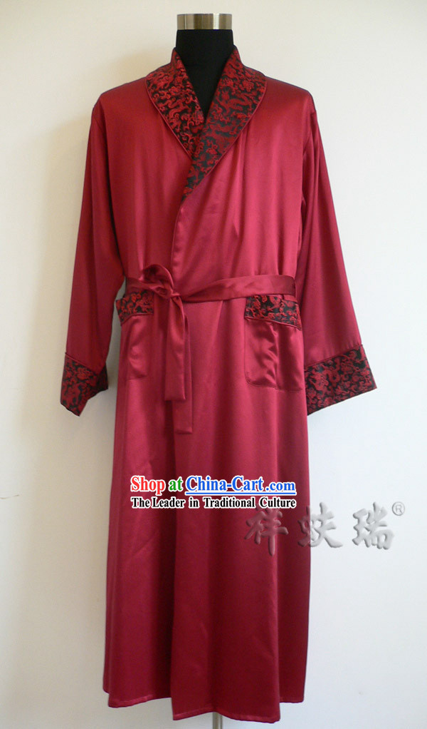 Beijing Rui Fu Xiang Silk Red Dragon Pajama for Men