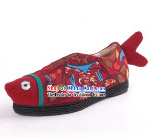 Traditional Chinese Handmade Embroidered Cloth Fish Shoes