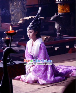 Chinese Qin Dynasty Qin Chao Qin Shi Huang's Empress Costumes and Headpiece Complete Set