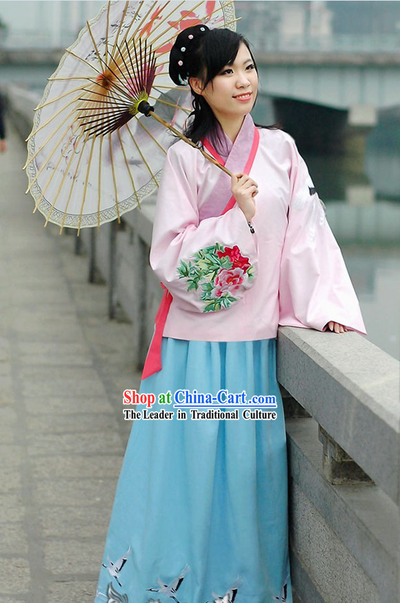 Chinese Ming Dynasty Hanfu Crane and Peony Clothing Complete Set