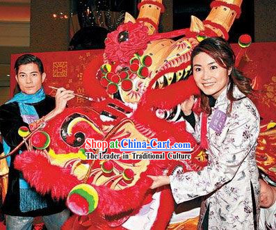 Guangzhou and Hong Kong Style Long Wool Fur Dragon Dance Costumes Complete Set