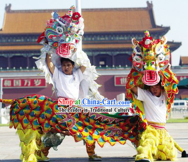 Traditional Chinese Yellow Kylin Dancing Costumes Complete Set