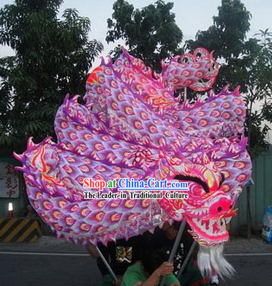 Glowing in Dark Luminous Peacock Pattern Dragon Dance Costumes Complete Set