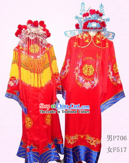 Traditional Chinese Wedding Dresses and Hats Two Sets for Bride and Bridegroom