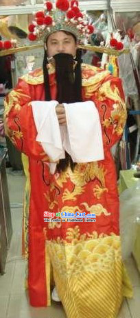 Chinese Ancient Celebration Cai Shen (God of Wealth) Costumes and Beard and Hat Complete Set