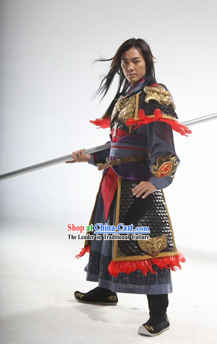 Ancient Chinese Zhao Zilong Armor Cosplay Costumes Full Set for Men