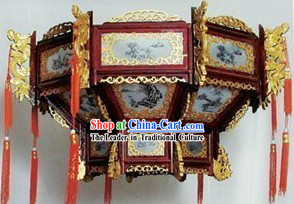 39 Inches Large Chinese Classical Ceiling Wooden Palace Lantern