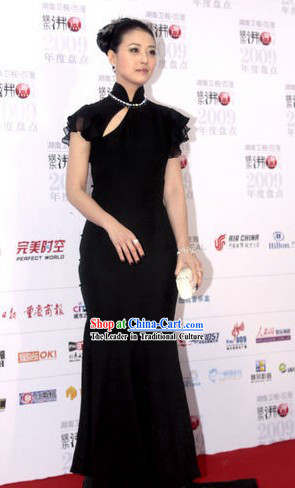 Chinese Black Long Silk Cheongsam Qipao