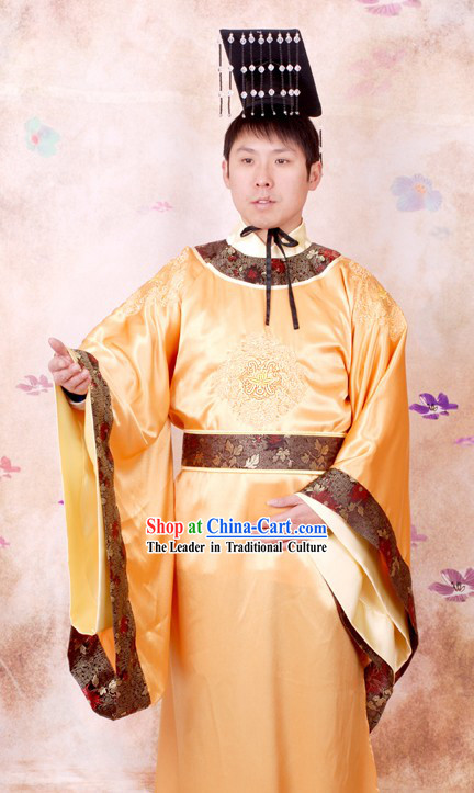 Ancient Tang Dynasty Emperor Imperial Clothing and Crown Complete Set