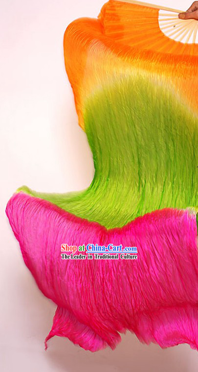 Three Colors Transition Long Silk Dance Fan