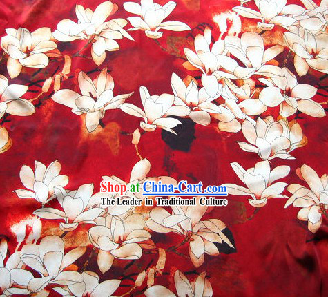 Chinese 100% Silk Flower Fabric