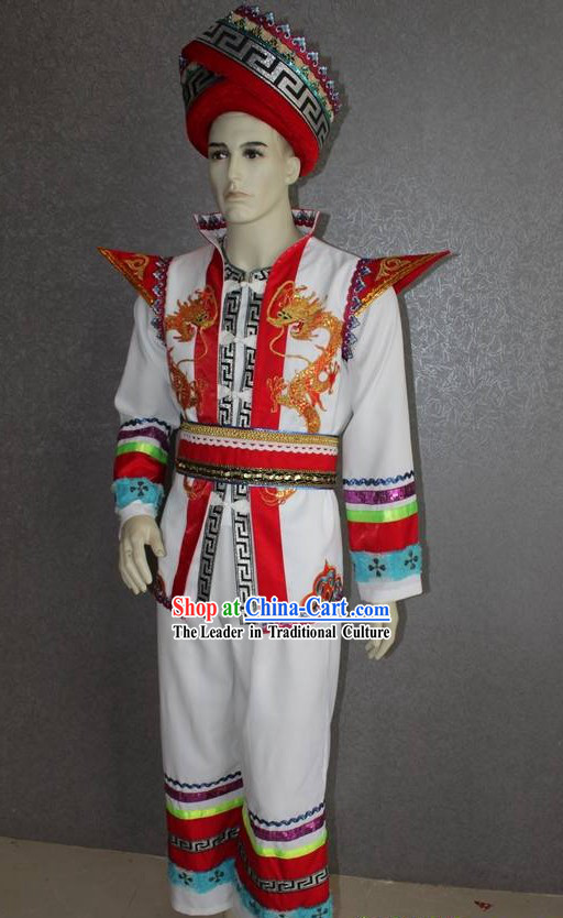 Chinese Ethnic Zhuang Minority Dragon Clothing and Hat for Men