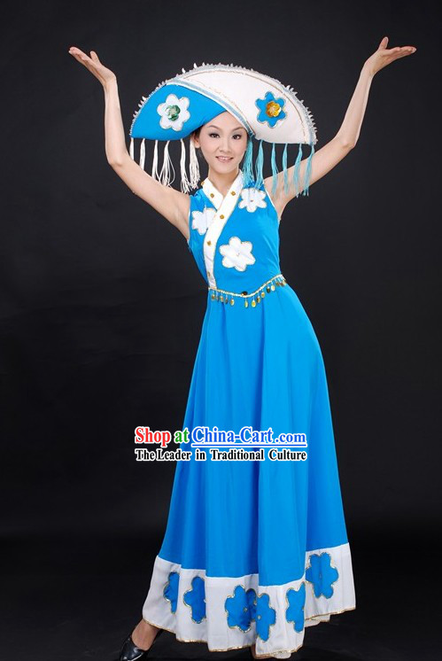 Chinese Folk Dance Costumes and Hat for Women