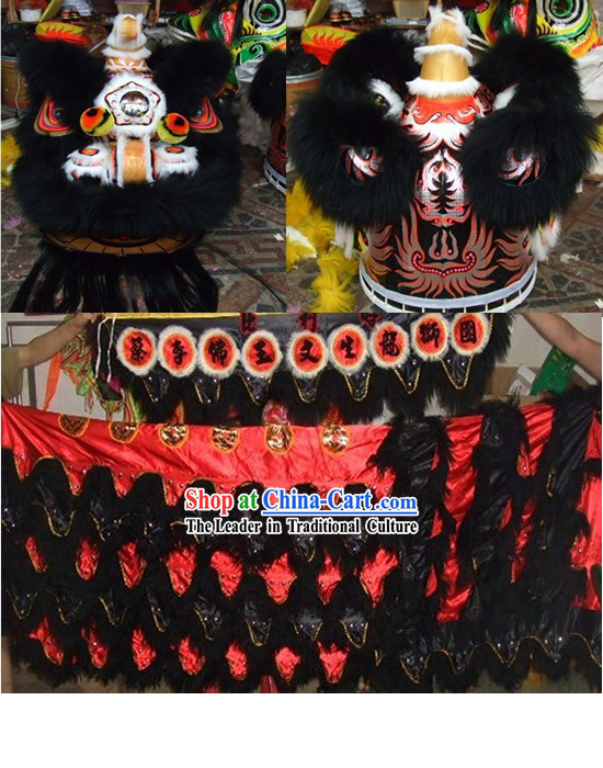 Traditional Black Long Wool Lion Dance Costume Complete Set